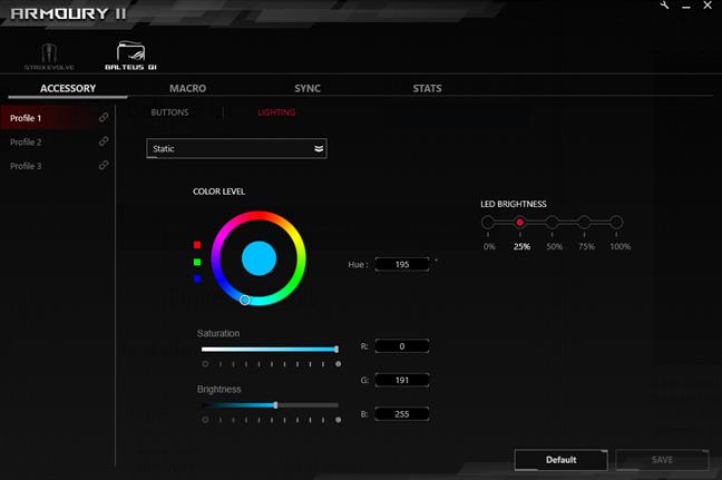 Culori și efecte de lumină disponibilă disponibile pe ASUS ROG Balteus Qi