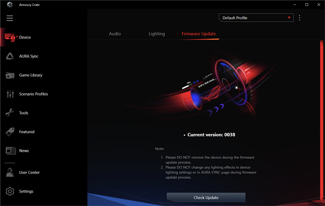ASUS ROG Delta: Actualizarea de firmware se face din aplicația Armoury Crate