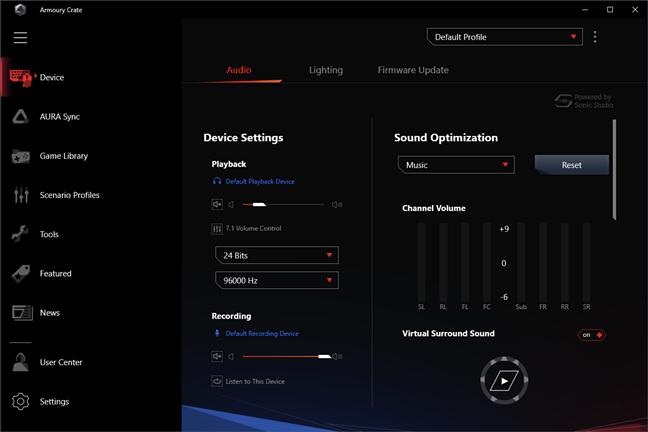 ASUS ROG Delta: Setări Audio în aplicația Armoury Crate