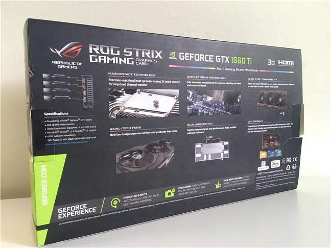 ASUS ROG STRIX GTX 1660 Ti GAMING OC - Partea din spate a cutiei