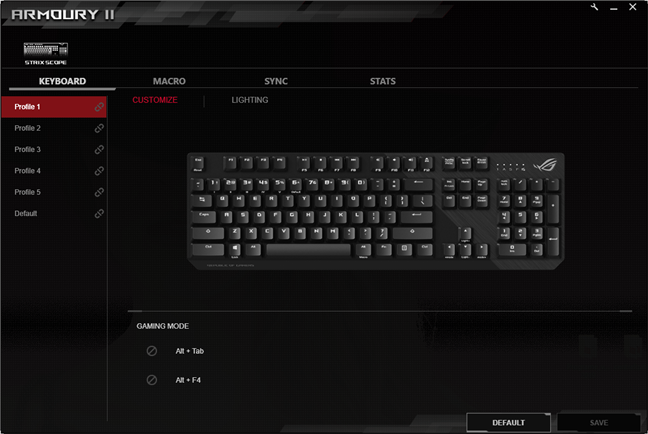 Software-ul ASUS ROG Armoury 2