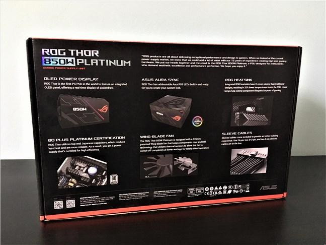 Sursa ASUS ROG Thor 850W Platinum: spatele cutiei
