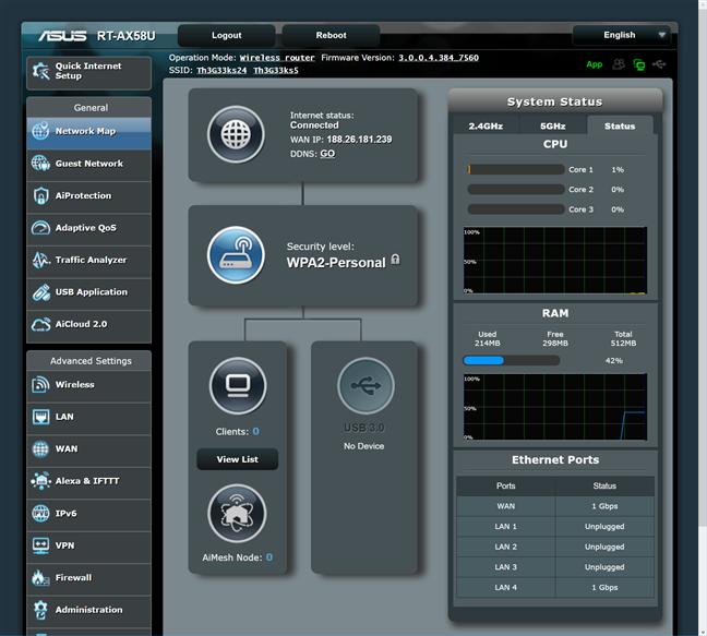 Firmware-ul routerului ASUS RT-AX58U