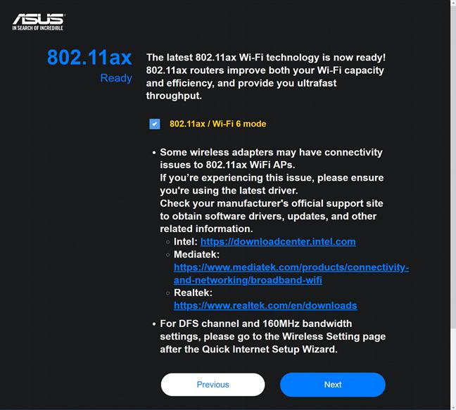 Activează Wi-Fi 6 pe ASUS RT-AX58U