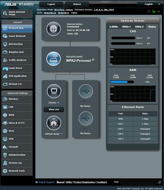 Firmware-ul de pe ASUS RT-AX92U