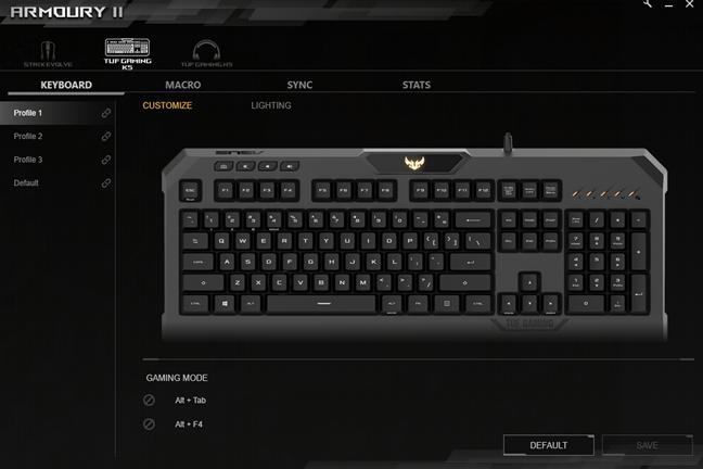 Opțiuni de personalizare oferite de software-ul Armoury II