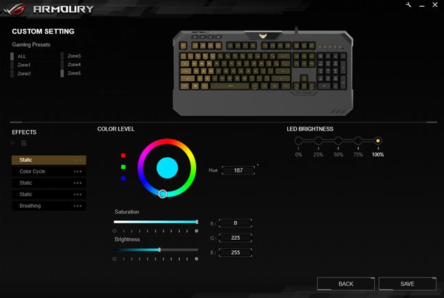 Cele cinci zone de iluminare de pe tastatura ASUS TUF Gaming K5