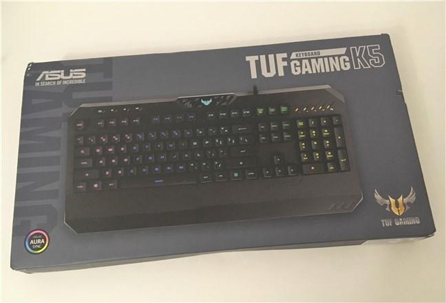 Partea superioară a pachetului ASUS TUF Gaming K5
