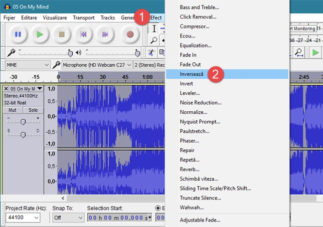 Audacity, Windows, melodie, invers, asculta, inapoi
