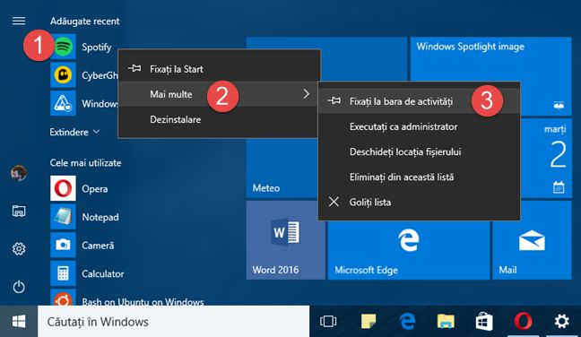 Windows 10, taskbar, bara activitati, scurtaturi, foldere, iconite