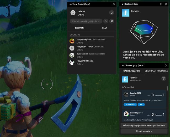Widgeturile Xbox din Bara Jocuri a Windows 10