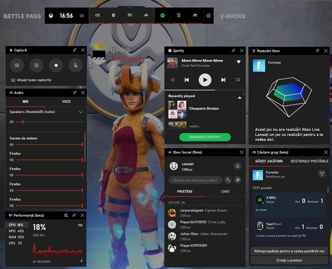 Bara Jocuri Xbox cu toate widgeturile disponibile activate