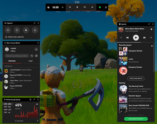 Bara Jocuri Xbox afișată pe ecran în timp ce ne jucam Fortnite