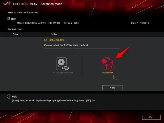 Actualizarea BIOS-ului de pe internet, pe o placă de bază ASUS