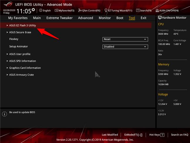 O aplicație inclusă în BIOS cu care poți să actualizezi BIOS-ul unei plăci de bază