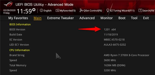 Versiunea de BIOS utilizată de o placă de bază ASUS