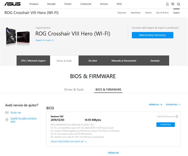 Pagina de BIOS și Firmware a unei plăci de bază produsă de ASUS