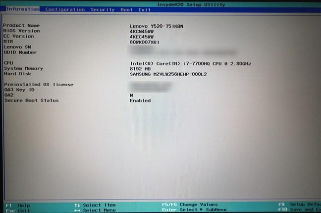 UEFI BIOS pe un laptop