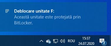 Această unitate este protejată prin BitLocker