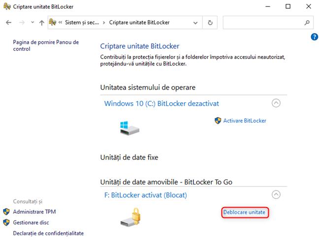 Deblochează o unitate BitLocker din Panoul de Control