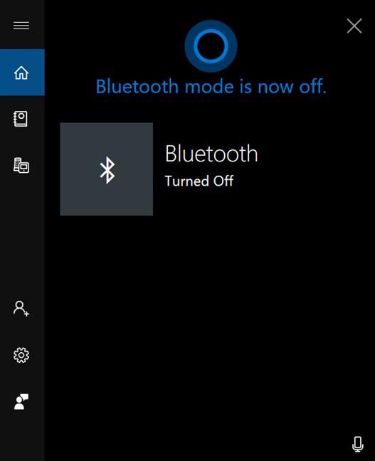 Cortana îți spune că Bluetooth este dezactivat
