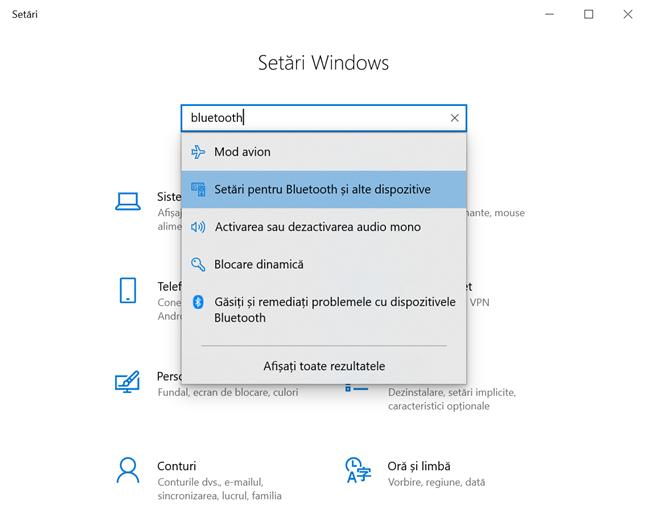 Accesează Setări pentru Bluetooth și alte dispozitive