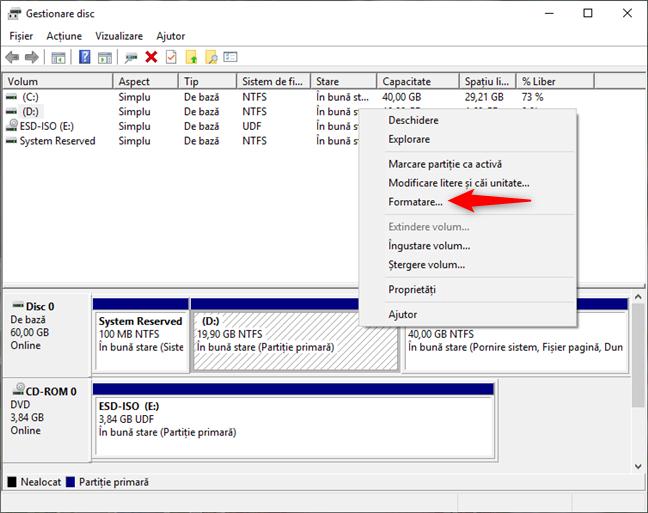 Formatarea unei partiții de Windows, cu Gestionare disc