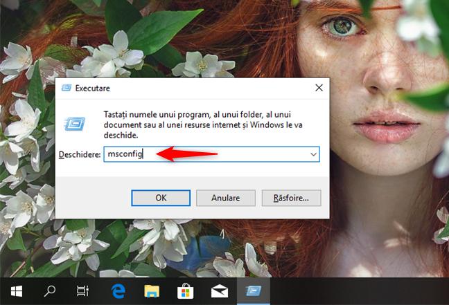 Deschide msconfig în Windows 10