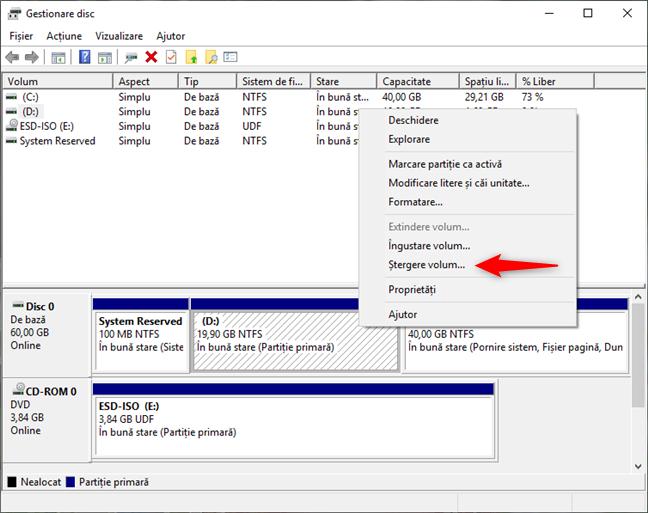 Ștergerea unei partiții de Windows cu Gestionare disc