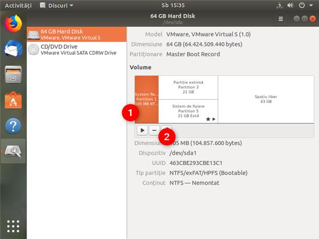 Ștergerea altor partiții de Windows folosind Disks în Ubuntu
