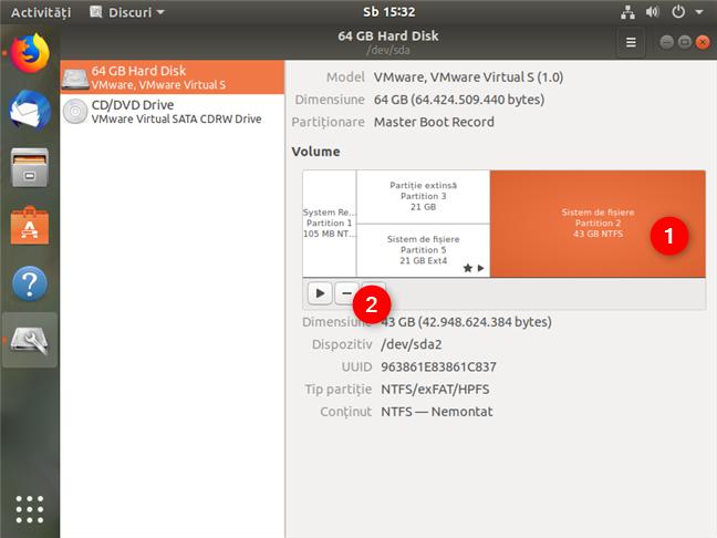 Ștergerea unei partiții de Windows 10, folosind Disks în Ubuntu
