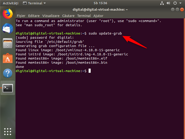Executarea sudo update-grub pentru a elimina Windows din meniul de boot