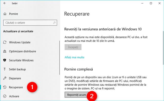 Opțiunile de pornire complexă pentru recuperare, din Windows 10