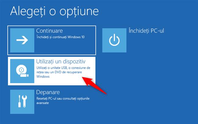Alegerea de a folosi un dispozitiv pentru a porni PC-ul