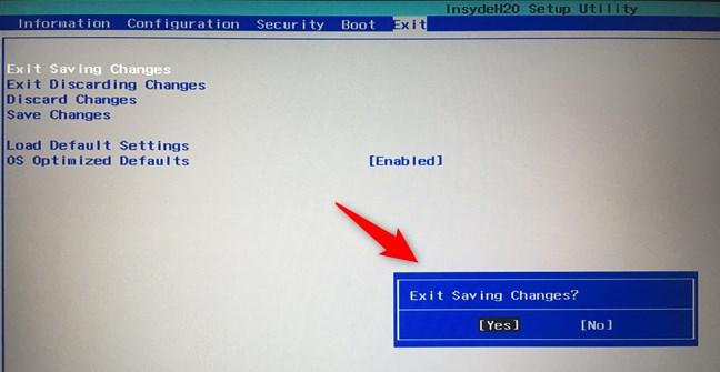 Salvarea setărilor în BIOS/UEFI
