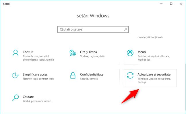 Setările de Actualizare și securitate din Windows 10