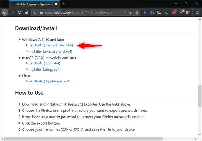Legăturile de descărcare pentru FF Password Exporter