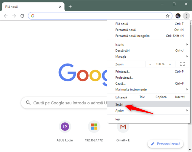 Opțiunea Setări din meniul Chrome
