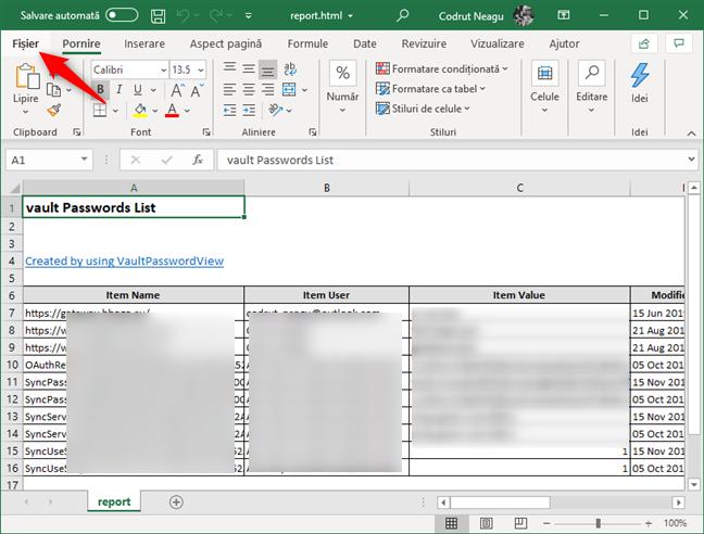 Deschidere fișierului cu parole HTML în Microsoft Excel