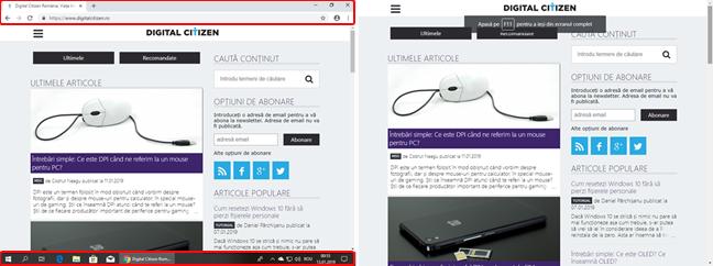 Google Chrome: modul fereastră față de modul ecran complet