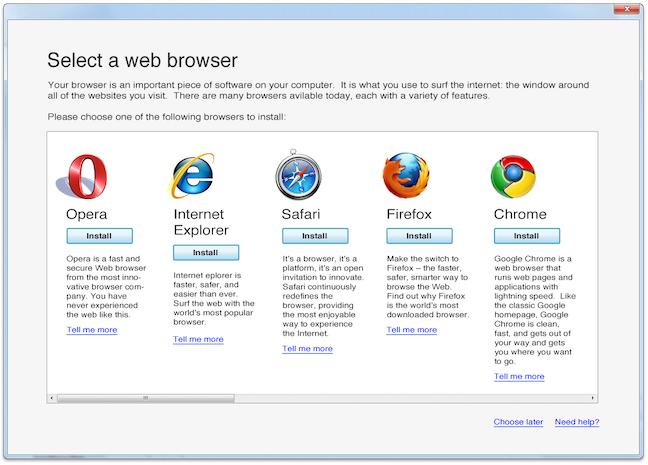 Buletinul de vot pentru browser creat de Microsoft pentru Windows 7