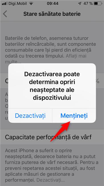 """Dezactivarea facilității """"Capacitate performanță de vârf"""" pe un iPhone"""