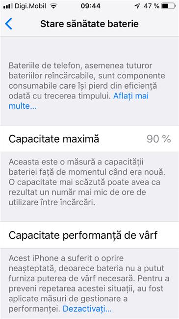 Opțiunile pentru Stare sănătate baterie de pe un iPhone