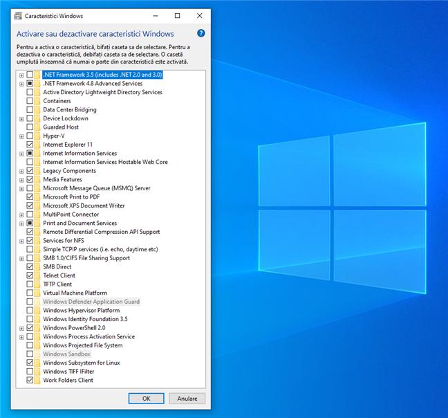 Activare sau dezactivare caracteristici Windows