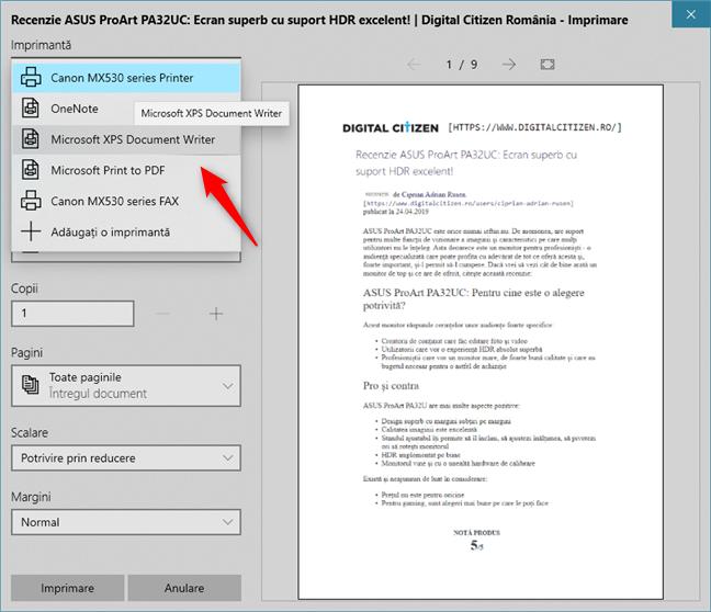 Microsoft Print to PDF și Microsoft XPS Document Writer