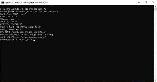 Verificarea versiunii unei distribuții de openSUSE instalate pe Windows 10