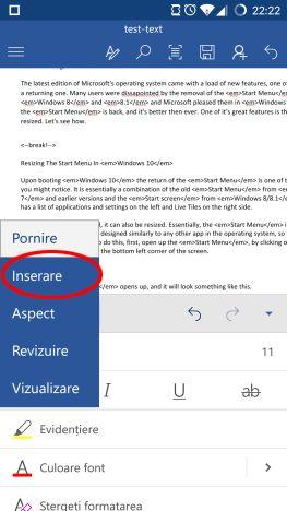 Android, Microsoft Word, documente, insereaza, editeaza, casete, text, link-uri, comentarii