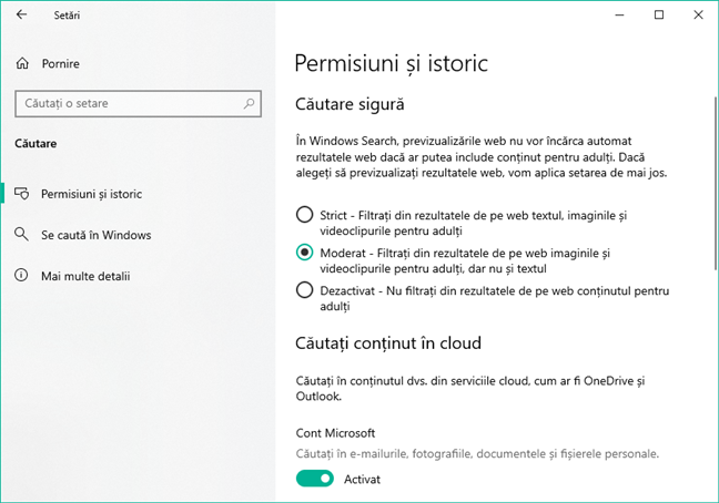 Paginile de Căutare din Setările Windows 10