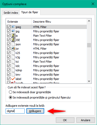 Adăugarea unui nou tip de fișier la indexul de Căutare al Windows 10