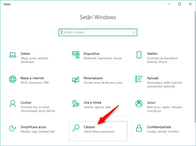 Categoria Căutare din setările Windows 10